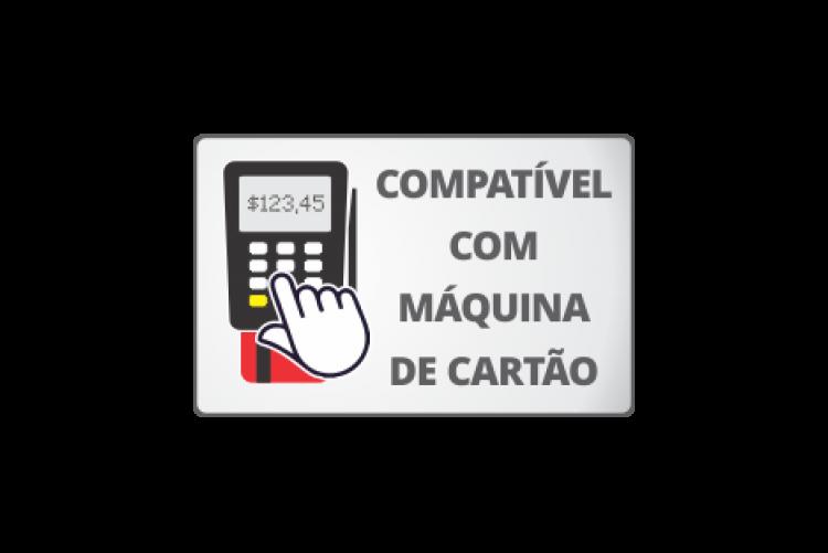 ilustração de uma máquininha de cartão com o texto compatível com máquina de cartão